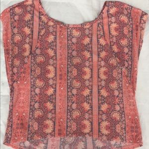AEO Coral top with cute design crisscross tie back